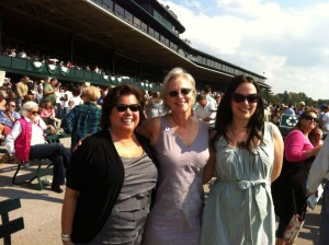 My second cousin Cindy, my Banana, and myself (in The Dress) at Keeneland's opening day in April
