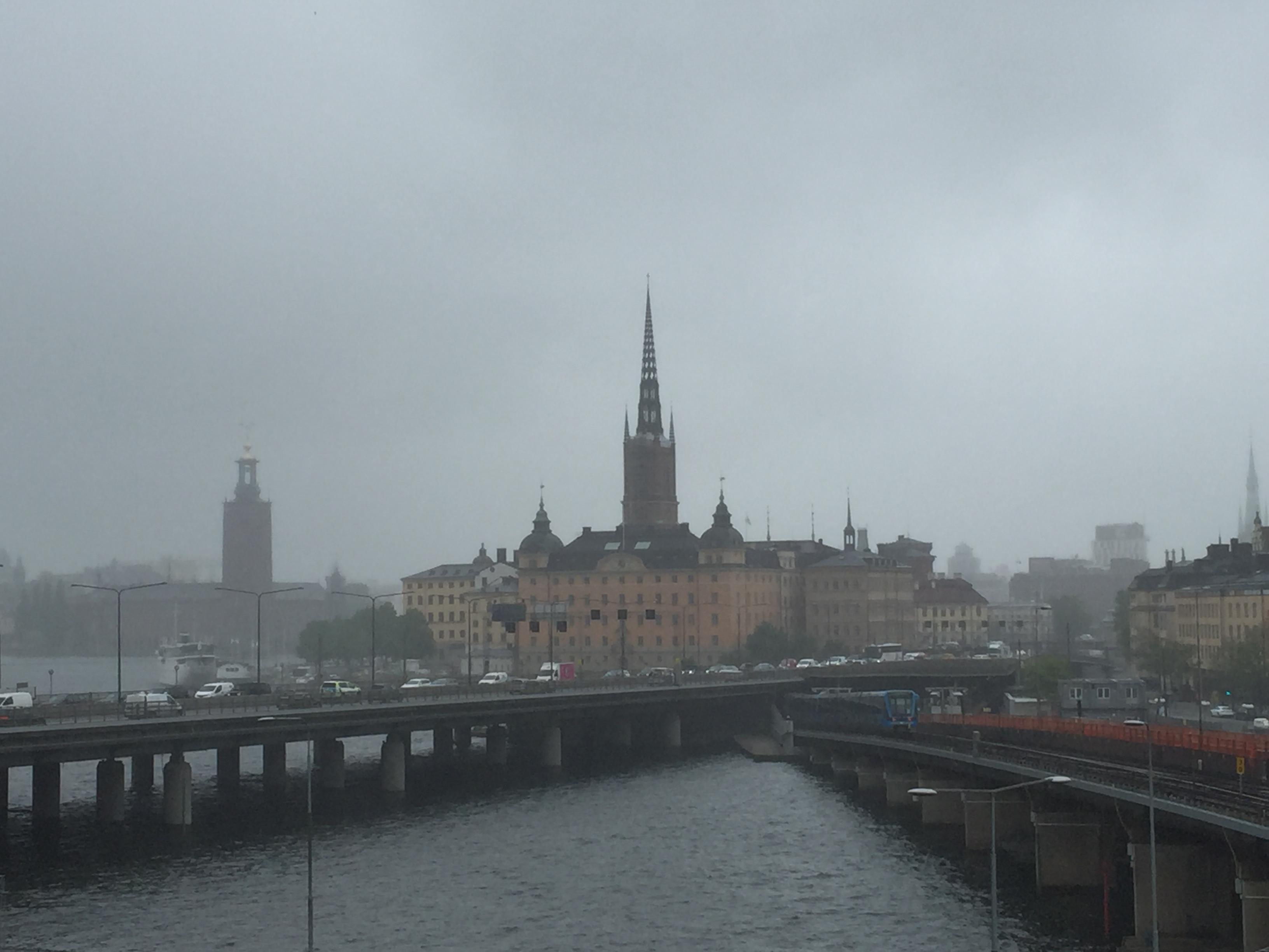 Pretty, rainy Stockholm.