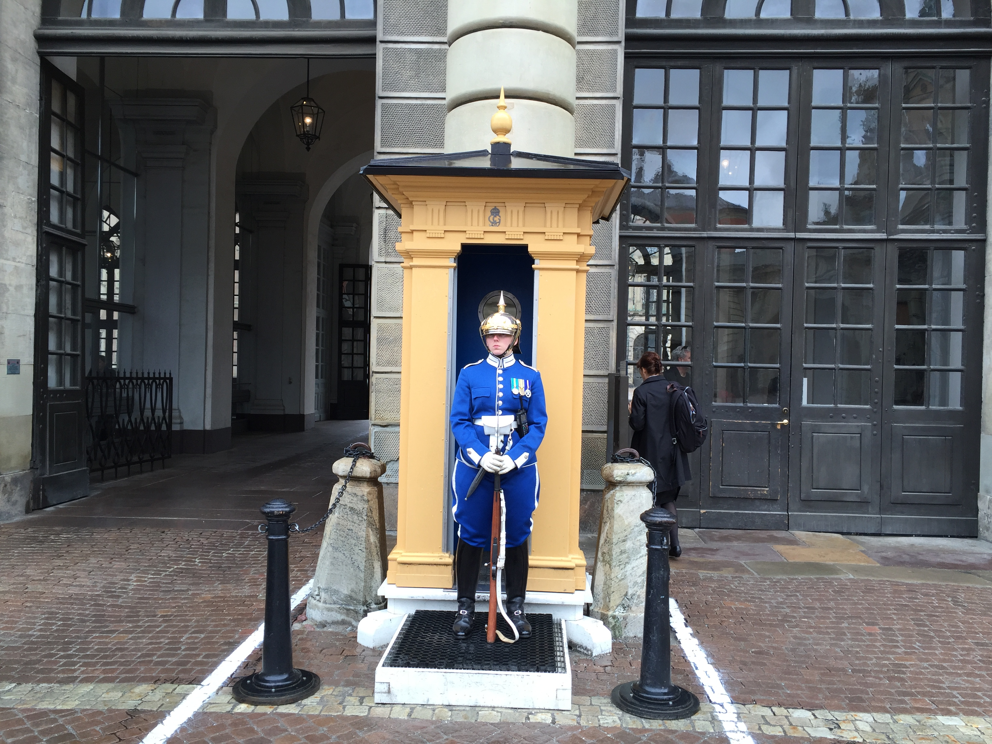 A guard at the palace. I elected not to test his stoicism.